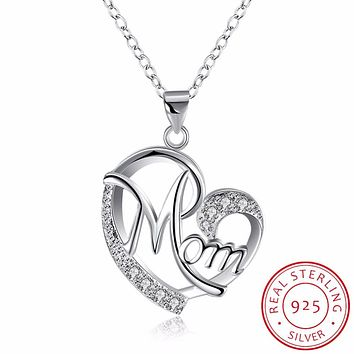 INALIS Heart Mum & Baby Necklaces I Love My Mother 925 Sterling Silver Mama Pendant Jewelry Mother's Day Gift/Mom Birthday Gift