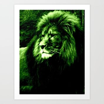 LION Green Art Print by 2sweet4words Designs