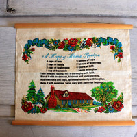 "vintage linen wall hanging ""A Happy Home Recipe"""