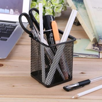 Black Iron Paint Spraying Outside Anti-Rust Office Desk Metal Mesh Square Pen Pot Cup Case Container Organiser Holder