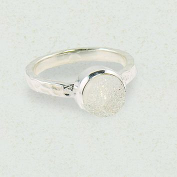 Sparkle White Druzy Sterling Silver Ring