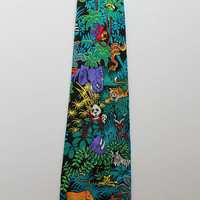 Vintage Addiction Brand Tropical Jungle Pattern Silk Necktie 1980s