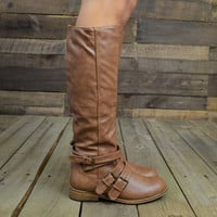 Dally Chesnut Strappy Buckle Riding Boots-OUT OF BOX