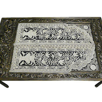 Ornate Bone Inlay Floral Table Hand Carved Dining Table