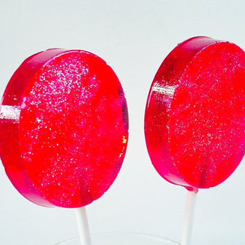 Red Candy Lollipops, Bright Red Hard Candy, Heart Tags, Ready to Give, Be Mine, Party Favors, Wedding Favors, Love -SIX LARGE LOLLIPOPS