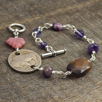 Buffalo nickel bracelet, coin amethyst lavender beads, silver, 8 1/4 inches 21cm