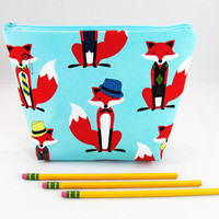 Fancy red fox aqua blue cosmetic case, pencil case, makeup brush bag, travel toiletry tote