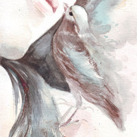 Original watercolor painting Girl and Birdie art