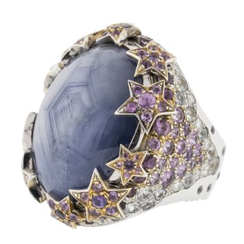 Blue Grey Star Sapphire Ring   Marissa Collections