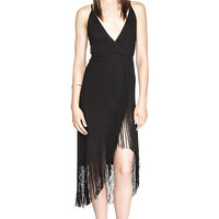Black Asymmetrical V-Neck Fringed Dress