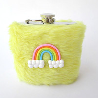 Cute Girly Pastel Fur Flask, Kawaii Rainbow Yellow Furry Teen Hip Flask Case, Gothic Lolita, Pastel Goth, 6oz Flask, 21st Birthday, Faux Fur