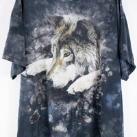 Vintage WOLF T-shirt Tie Dye 80s 90s Tee Shirt Size LG/XL