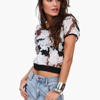 Black Floral White Chiffon Shirt