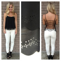Black String Back Tank