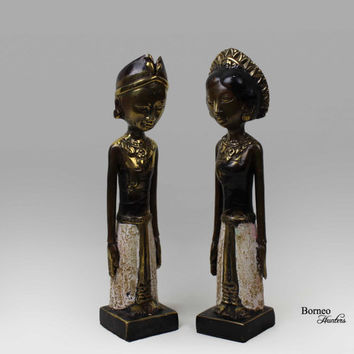 Wedding Couple Bronze Sculptures Javanese Wedding Doll (Pair) 'Half of My Soul'. Indonesia Cultural Art-Love Gift For Him & Her-Wedding Gift