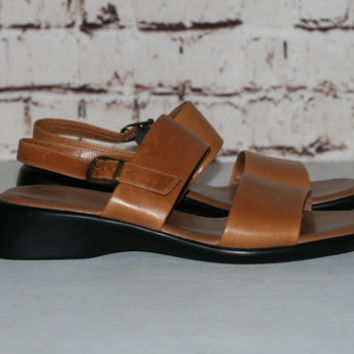90s Chunky Sandals US 7.5 Nude Vegan Leather Tan Beige Brown Grunge Hipster Festival Minimalist Boho Festival Black 7 Two Strap Sling Back