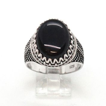 (2-5274-h9-2) Sterling Silver Men's Oval Black Onyx Ring.