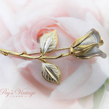 Vintage Rose Flower Brooch Pin, Gold And Silver Flower Brooch, Bridal Fashion Jewelry