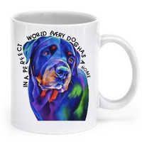 Rottweiler mug - In a perfect world every dog has a home