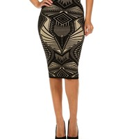 Sale-black Tribal Luxe Midi Skirt