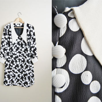 The Polka. Black & White Polka Dot 60s Retro Dress Mini Mod