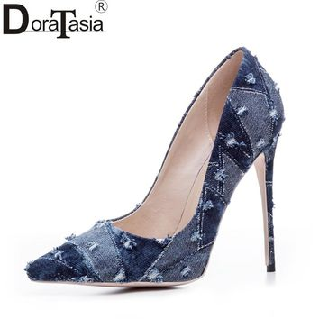 DoraTasia denim eourpean style big size 33-43 pointed toe women shoes sexy thin high heel brand design lady pumps party wedding