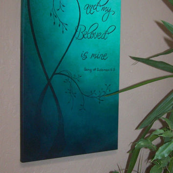 Teal home decor, turquoise bedroom, teal painting,personalized art,teal wedding art,inspirational quote canvas,large wall art,original 18x36