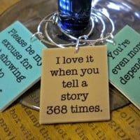 6 Funny Best Friends Sayings Wine Charms for the Wine Lover that you Love - Great unique gift for him - Perfect Gift for Birthday, Wedding