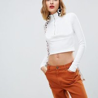Stradivarius zip up long sleeve top at asos.com