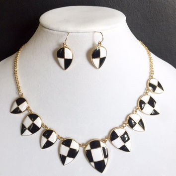 Chess T Necklace/Earrings Set