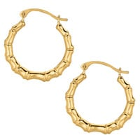 10K Yellow Gold Shiny Bamboo Round Hoop Earrings