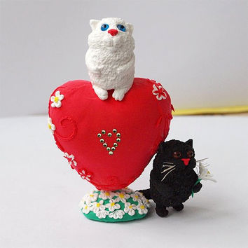 Mini white and black cat on a heart,handmade of clay,gift on Valentine's Day,sculpture,figurine cats,animal totem