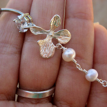 Belly Button Jewelry- Orchid Pearl Lotus Flower Charm Beaded Dangle Bead Navel Piercing Ring Bar Barbell