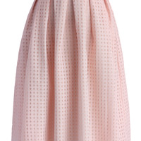 Grids and Pleats Midi Skirt in Pink   Pink