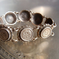 Antique Victorian Aesthetic Movement Sterling Silver Engraved Floral Link Bracelet