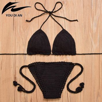 YOUDIAN Sexy Women Knitted Swimsuit Swimwear Sweet Quick Drying Female Push-up Bikini Set Summer Beach Bathing Suits Set New