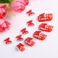 Yesurprise 10pcs Red Bow Tie 3D Alloy Nail Art Glitters Slices DIY Decoration