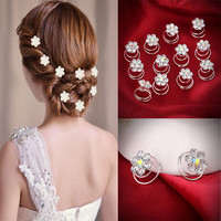 12Pc Hair Decor Crystal Rhinestone Flower Hair Clips Hairpins Hairgrips Hairclip Barrette Clips For Women Girls Hair Accessories
