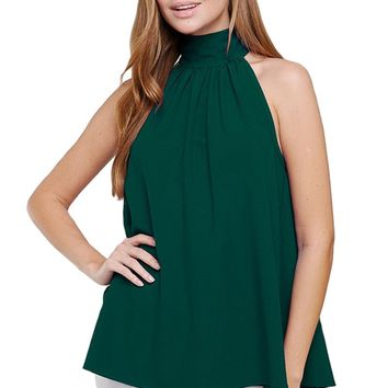 Crepe Halter Blouse with Back Bow
