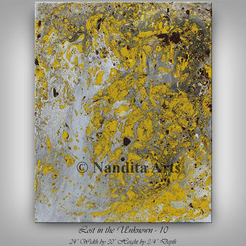 """Yellow painting 30"""" Mixed media wall art, Original painting, Black Yellow art large modern art for office or home decor by Nandita Albright"""