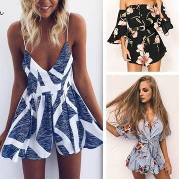 DCCKU62 2017 Casual Women Rompers and Jumpsuit Sexy Playsuits Strapless Fashion print chest Summer Shorts Bodysuits