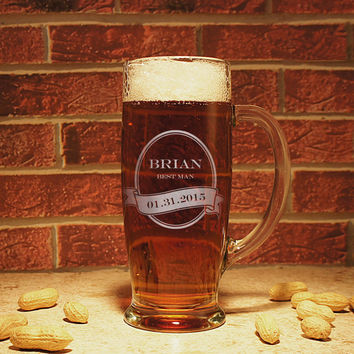 Emperor's Personalized Beer Mug with Engraved Groomsman Monogram Designs with Monogrammed Magnetic Bottle Opener & Gift Wrap Options