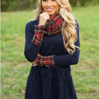 Blue Plaid Patchwork Long Sleeve  Cowl Neck Dress