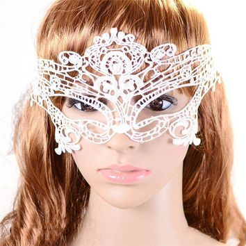 Sexy Lady White Butterfly Halloween Masquerade Lace Costumes Theatre Mask Xmas
