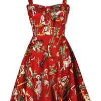 Red Vintage Pinup Cowgirl Dress