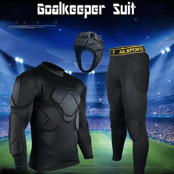 2018 Goalkeeper Soccer Jerseys Sets Adult/Children Long Sleeve Doorkeepers Survetement Kids Football Sponge Protector Hot Cap