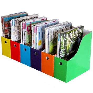 Evelots 6 Heavy Duty Magazine/File Holders W/ Adhesive Labels, Multi-Color