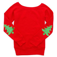 Holiday Elbow Patch Sweatshirt - Not Your Ugly Christmas Sweater - Christmas Tree Elbow Patches