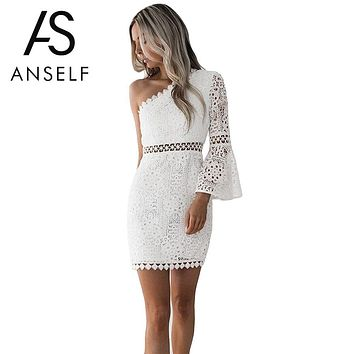 Anself New Sexy Hollow Out Dress Women Elegant White Lace Dress One Shoulder Flare Sleeve Clubwear Short Club Party Dress
