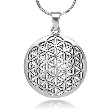 Silver Plated Flower of Life Pendant Necklace Om Symbol Mandala Hexagon Sacred Geometry Jewelry Fleur De Vie for Women
